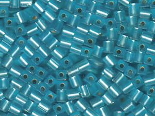 Japanese Miyuki Cube Glass Seed Bead Size 4mm - Aquamarine - Silver Lined Matte Finish