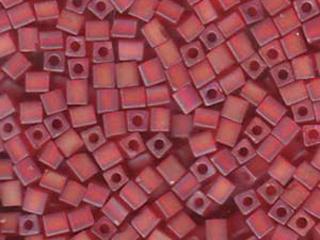 Japanese Miyuki Cube Glass Seed Bead Size 4mm - Red AB - Transparent Iridescent Matte Finish