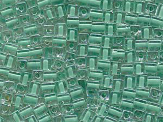 Japanese Miyuki Cube Glass Seed Bead Size 4mm - Crystal with Green Color Lined