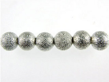 Metal 4mm Round Stardust Beads and Spacers - Silver Plate Finish