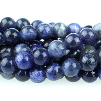 Blue 6mm Sodalite Round Beads - 8-inch String