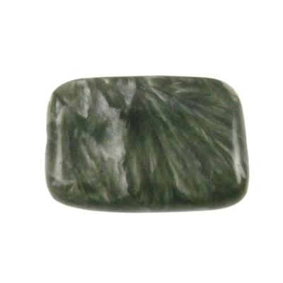 25 x 18mm Flate Rectangle Seraphinite Stone Bead - Mossy Green | Natural Semiprecious Gemstone