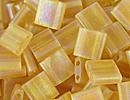 Japanese Miyuki Tila Bead - Light Topaz AB - Transparent Iridescent Matte Finish | Glass Seed Beads