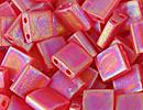 Japanese Miyuki Tila Bead - Red Orange AB - Transparent Iridescent Matte Finish | Glass Seed Beads