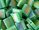 Japanese Miyuki Tila Bead - Green AB - Transparent Iridescent Matte Finish | Glass Seed Beads