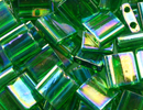 Japanese Miyuki Tila Bead - Green AB - Transparent Iridescent Finish | Glass Seed Beads