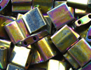 Japanese Miyuki Tila Bead - Purple Gold Iris - Metallic Finish | Glass Seed Beads