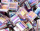 Japanese Miyuki Tila Bead - Smoky Amethyst - Transparent Iridescent Finish   Glass Seed Beads