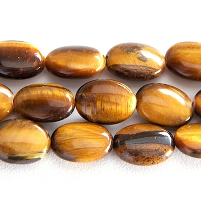 10 x 14mm Oval Tiger Eye Stone Bead - Golden Brown   Natural Semiprecious Gemstone
