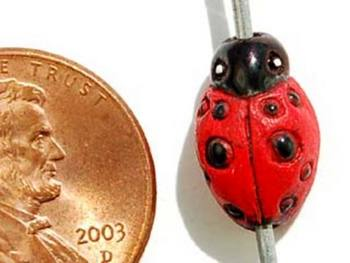 13 x 9mm Red Ladybug Hand-painted Clay Bead | Natural Beads
