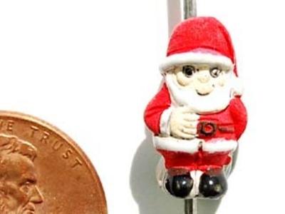 15 x 8mm Christmas Santa Claus Hand-painted Clay Bead | Natural Beads