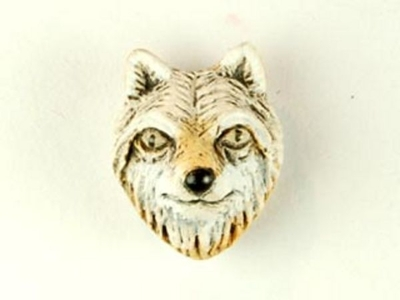 12 x 10mm Wolf Face Hand-painted Clay Bead   Natural Beads
