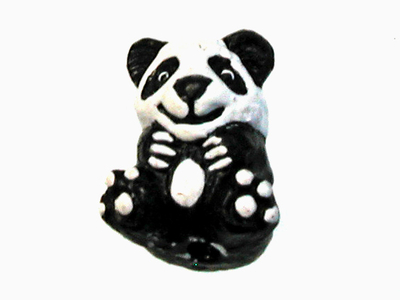 11 x 9mm Panda Hand-painted Clay Bead | Natural Beads