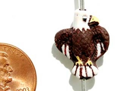 18 x 14mm Dark Brown Eagle Hand-painted Clay Bead | Natural Beads