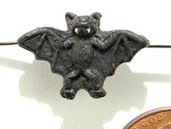 12 x 18mm Black Bat Hand-painted Clay Halloween Bead | Natural Beads