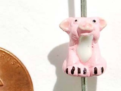 11 x 8mm Pink Pig Hand-painted Clay Bead | Natural Beads