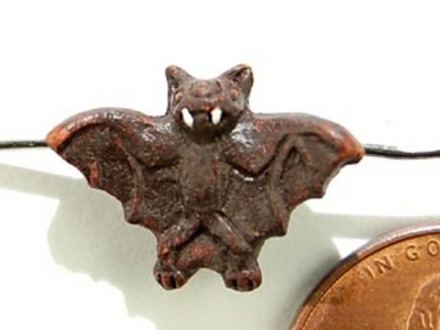 12 x 18mm Brown Bat Hand-painted Clay Halloween Bead | Natural Beads