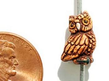 13 x 7 mm Brown Owl Hand-painted Clay Bead   Natural Beads