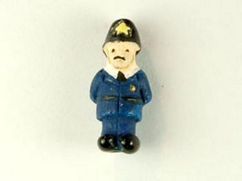 16 x 8mm British Policeman Bobbie Hand-painted Clay Bead | Natural Beads