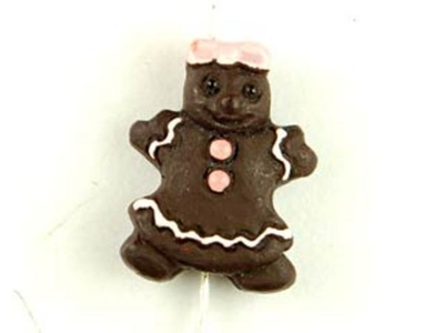 15 x 12 mm Gingerbread Girl Hand-painted Clay Christmas Bead | Natural Beads