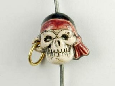 13 x 14mm Pirate Skull with Earring Hand-painted Clay Bead | Natural Beads