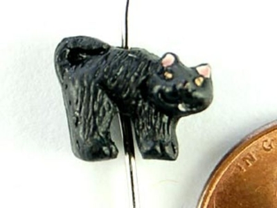 9 x 12mm Spooked Black Cat Hand-painted Clay Halloween Bead | Natural Beads