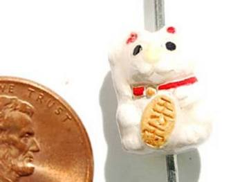 13 x 10mm Good Luck White Kitty Cat Hand-painted Clay Bead | Natural Beads