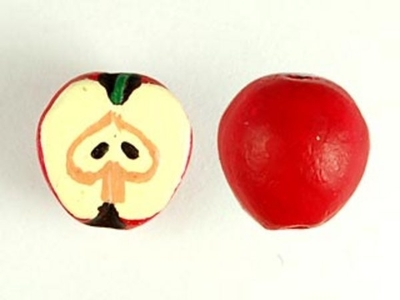 11mm Red Apple Hand-painted Clay Bead | Natural Beads