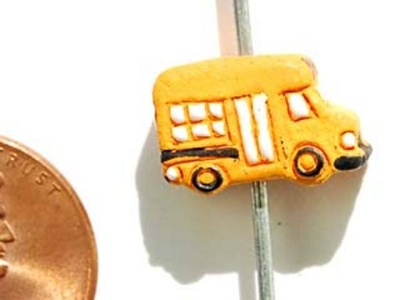 13 x 9mm School Bus Hand-painted Clay Bead | Natural Beads