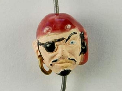 13 x 12mm Pirate with Earring Hand-painted Clay Bead | Natural Beads