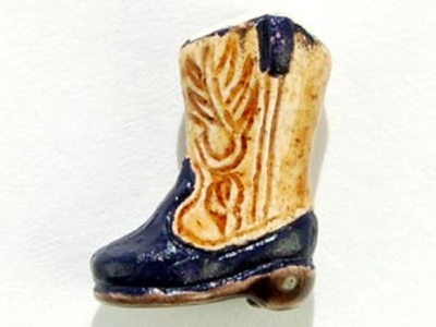 14 x 10mm Light Brown Cowboy Boot Hand-painted Clay Bead | Natural Beads