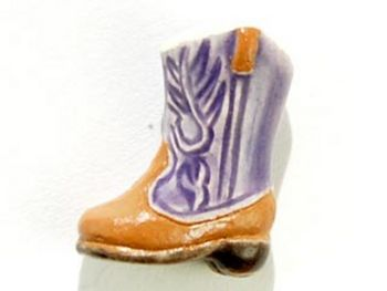 14 x 10mm Purple Cowboy Boot Hand-painted Clay Bead | Natural Beads