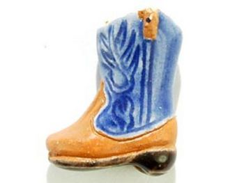 14 x 10mm Blue Cowboy Boot Hand-painted Clay Bead | Natural Beads