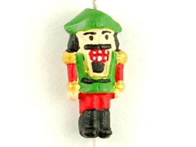 16 x 8mm Nutcracker Hand-painted Clay Christmas Bead | Natural Beads