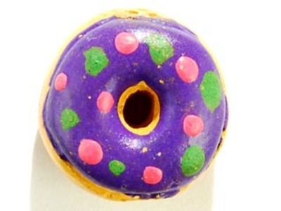 10 x 6mm Dark Blue Donut with Sprinkles Hand-painted Clay Bead   Natural Beads