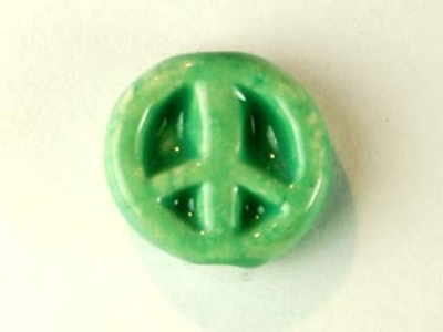 11mm Green Peace Sign Hand-painted Clay Bead | Natural Beads
