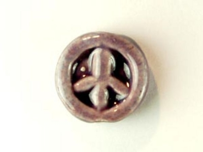 11mm Purple Peace Sign Hand-painted Clay Bead | Natural Beads