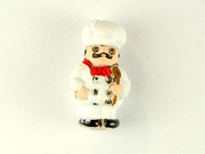 14 x 8mm Chef Hand-painted Clay Bead   Natural Beads
