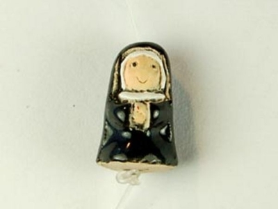12 x 8mm Nun Hand-painted Clay Bead | Natural Beads