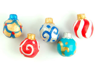 12 x 10mm Assorted Colors Christmas Ornaments Hand-painted Clay Bead | Natural Beads