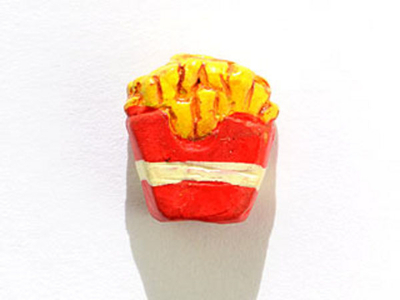 12mm French Fries Hand-painted Clay Bead | Natural Beads