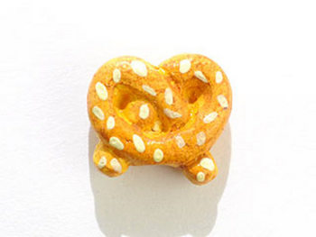 11 x 12mm Pretzel Hand-painted Clay Bead | Natural Beads