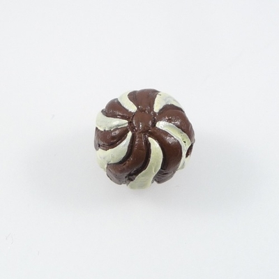 Approximately 10mm Chocolate Petit Fours Hand-painted Clay Bead | Natural Beads