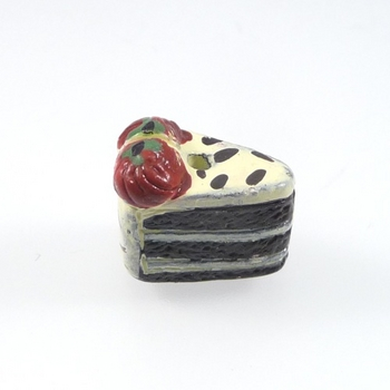 12 x 8mm Chocolate Cake Slice with Strawberries Hand-painted Clay Bead | Natural Beads