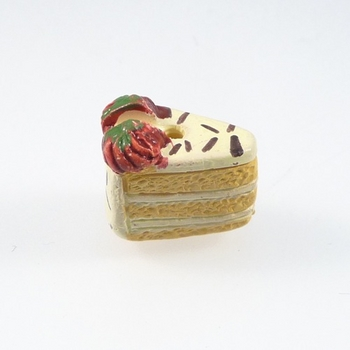 12 x8mm Vanilla Cake Slice with Strawberries Hand-painted Clay Bead | Natural Beads