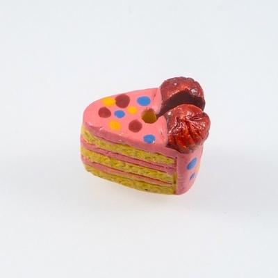 12 x 8mm Birthday Cake Hand-painted Clay Bead | Natural Beads