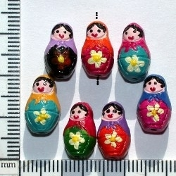 Clay Beads 16 x 9mm Russian Nesting Dolls assorted clay | Clay Beads
