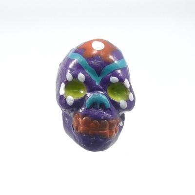 9 x 12mm Sugar Skull Hand-painted Clay Bead - Dark Purple | Day of th Dead Skull Bead | Natural Beads