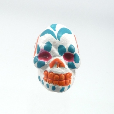 9 x 12mm Sugar Skull Hand-painted Clay Bead - White and Orange | Day of th Dead Skull Bead | Natural Beads