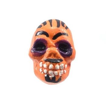 9 x 12mm Sugar Skull Hand-painted Clay Bead - Orange and Black | Day of th Dead Skull Bead | Natural Beads